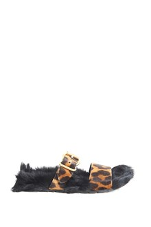 PRADA slipper with fur  fussbett and animalier band in front