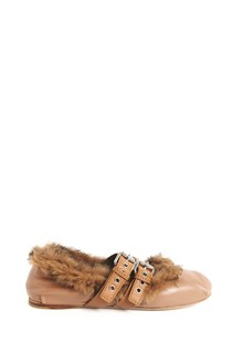 MIU MIU Ballet shoes with buckles and lapin fur