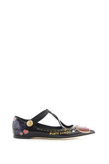 DOLCE & GABBANA printed  leather flat shoes with jewel button