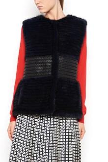 "TORY BURCH Fur ""Roxana"" vest coat with braided leather waist belt"