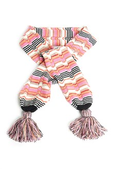 MISSONI KIDS Multicolor scarf with pom pom