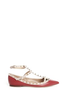 "VALENTINO GARAVANI calf leather ""rockstud"" flat shoes with studs"