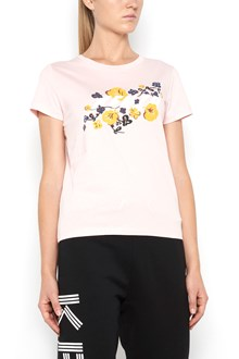 KENZO cotton 1/2 sleeves t-shirt with frontal 'logo flower' print