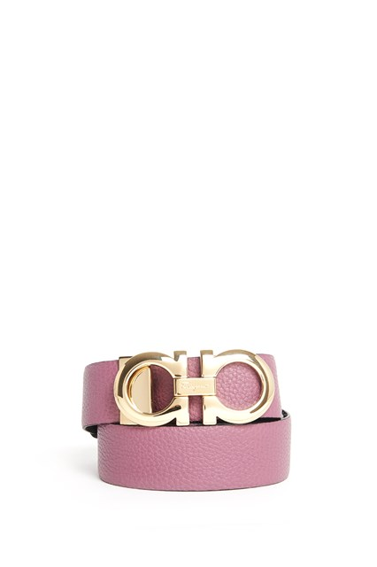 SALVATORE FERRAGAMO Bicolor leather belt with gold logo buckle