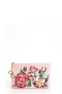 DOLCE & GABBANA Calf leather 'Rose' printed clutch