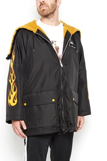 PALM ANGELS windcheater with palm and flames