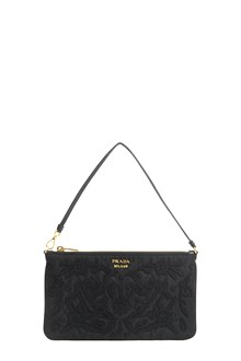 PRADA embroidered pochette with logo in front