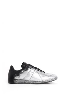 MAISON MARGIELA Leather silver glittered sneakers