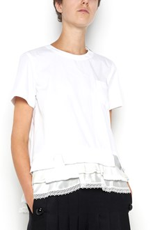 SACAI Cotton t-shirt with ruffles on hem