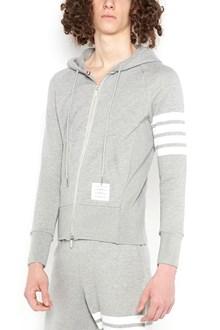 THOM BROWNE hoodie with zip and stripes on sleeve