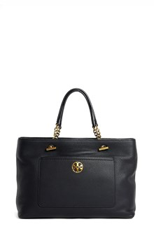 TORY BURCH Leather 'Chelsea' satchel with gold chain accents and logo with crossbody strap