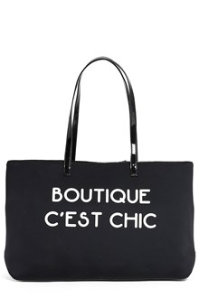 BOUTIQUE MOSCHINO Nylon fabric tote with contrasting writing and crossbody strap