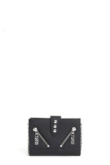 KENZO Rubberized leather 'Kalifornia' on chain wallet with zippers