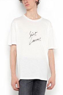 SAINT LAURENT round neck t-shirt with logo printed in front