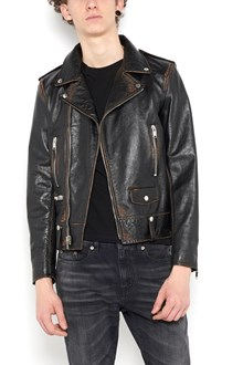 SAINT LAURENT leather jacket with printed mouth back