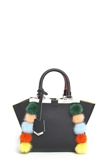 FENDI '3Jours' mini leather handbag with strap and multicolor edges and pom pom