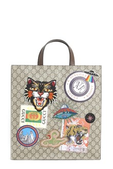 GUCCI Courier tote with patches and Gucci logo