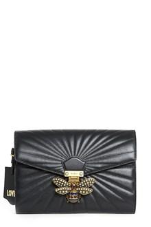 GUCCI Leather clutch with swarovski 'Bee'
