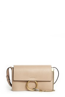 CHLOÉ 'Faye' small leather shoulder bag with gold insert and chain