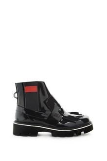 MSGM Leather ankle boot with fringes and elastic ankle