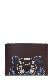 KENZO Embroidered 'Tiger' clutch with zip closure