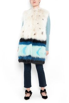 MATE' sleeveless multicoloured fox fur coat