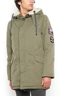 LANVIN cotton long hooded parka with patches  and inside shearling