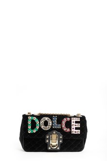 DOLCE & GABBANA Velvet 'Lucia' small bag with gold harware and patches