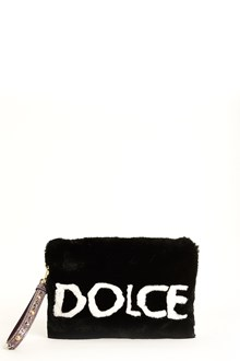 DOLCE & GABBANA Leather fur 'Cleo' clutch with logo