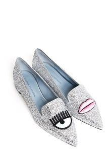 CHIARA FERRAGNI Glittered toe slip-on with 'Eye and lip' embroidery