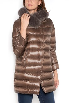 HERNO Long down jacket with buttons and detachable fur collar