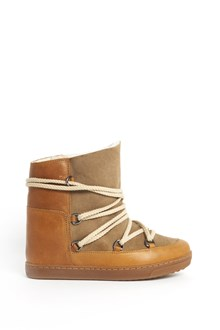 ISABEL MARANT 'Nowles' leather and velvet boots with fur inside