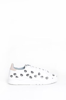 CHIARA FERRAGNI 'Eyes' all over printed leather sneakers pink on the back