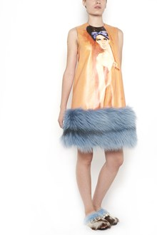 PRADA sleeveless dress with  all over 'Girl poster' print ,with  fox fur on hem