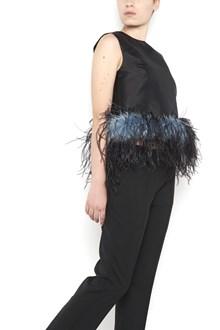 PRADA Sleeveless top with feathers on hem