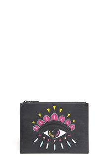 KENZO Clutch with patch and zipper
