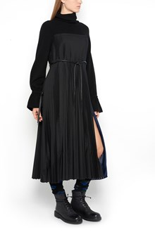 SACAI knitted  long dress with turtle neck and wide pleated skirt