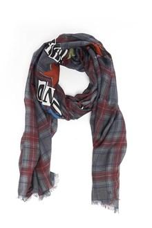 VALENTINO GARAVANI silkscreen printed checked model scarf