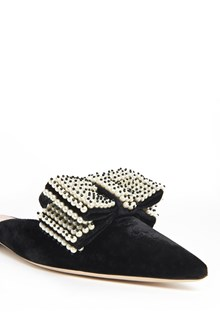 ALBERTA FERRETTI 'Mule' velvet flat with pearls detail