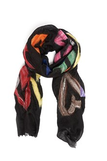 FALIERO SARTI multicoloured hearts printed wool scarf
