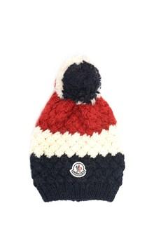 MONCLER Striped wool  beanie with logo and pom pom