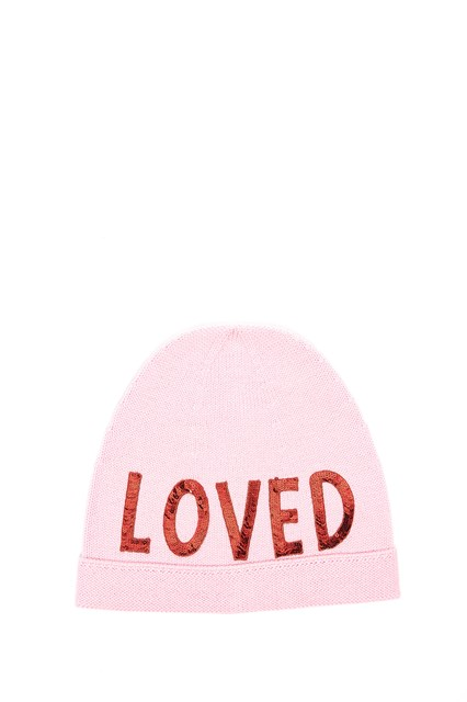 wool beanie with sequinned Loved patch Gucci J2z5zZ1j