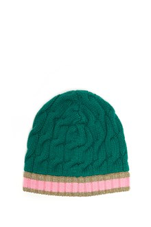 GUCCI Wool beanie with lurex gold band