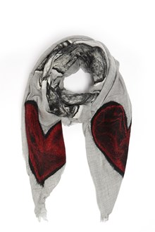 FALIERO SARTI 'Noa' wool and silk scarf with heart patches