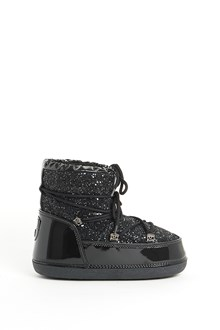 CHIARA FERRAGNI Patent leather glittered  moon boots with inside fur