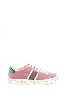 GUCCI 'New Ace' velvet sneakers with pearls and studs
