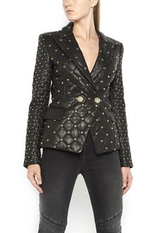 BALMAIN six buttons lamb leather tailleur jacket