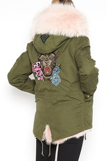 AS65 short slim parka with 'Paanther' embroidery on back  and hood with fur