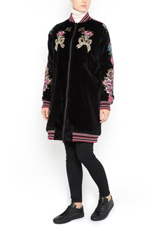 AS65 'Souvenir' cotton long  bomber jacket with embroidery and jewels