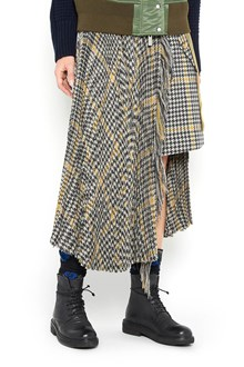 SACAI 'Houndstooth' wool long pleated skirt